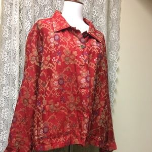 Chico's red floral blazer